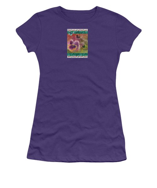 Women's T-Shirt (Junior Cut) featuring the painting Pansy Butterfly Asianesque Border by Judith Cheng