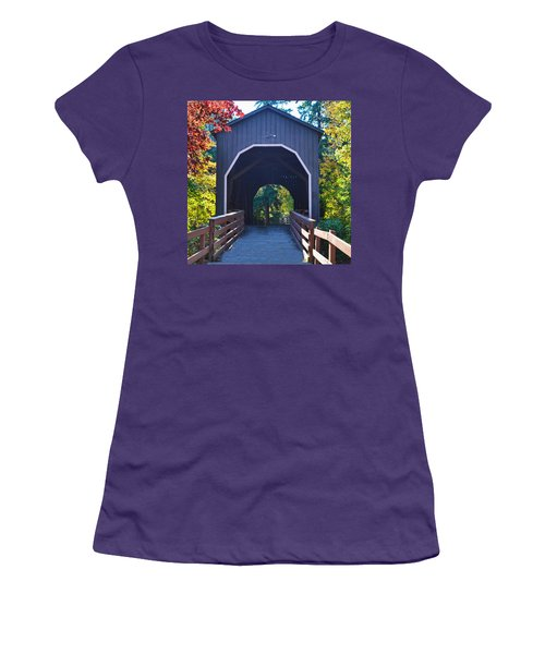 Pass Creek Covered Bridge Women's T-Shirt (Athletic Fit)