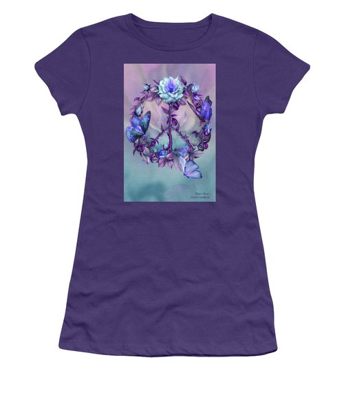 Women's T-Shirt (Athletic Fit) featuring the mixed media Peace Rose - Blue by Carol Cavalaris