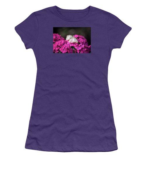Peacock Butterfly On Fuchsia Phlox Women's T-Shirt (Junior Cut) by Suzanne Gaff
