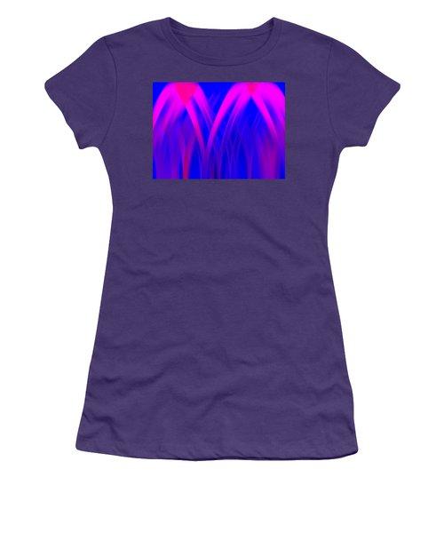Women's T-Shirt (Junior Cut) featuring the digital art Pink Lacing by Carolyn Marshall