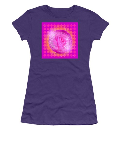 Pink Rose In Globe Women's T-Shirt (Athletic Fit)