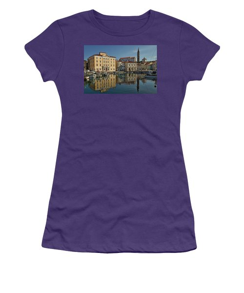 Women's T-Shirt (Athletic Fit) featuring the photograph Piran Marina Reflections #2 by Stuart Litoff