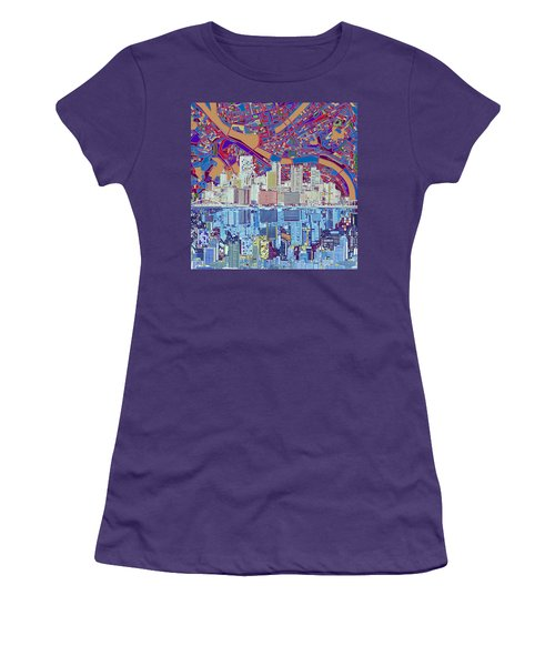 Pittsburgh Skyline Abstract 6 Women's T-Shirt (Athletic Fit)
