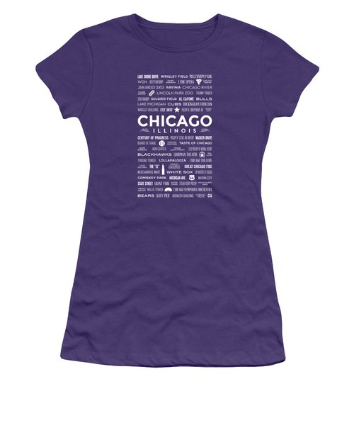 Places Of Chicago On Blue Chalkboard Women's T-Shirt (Junior Cut) by Christopher Arndt