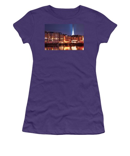 Portsmouth Waterfront At Night Women's T-Shirt (Athletic Fit)