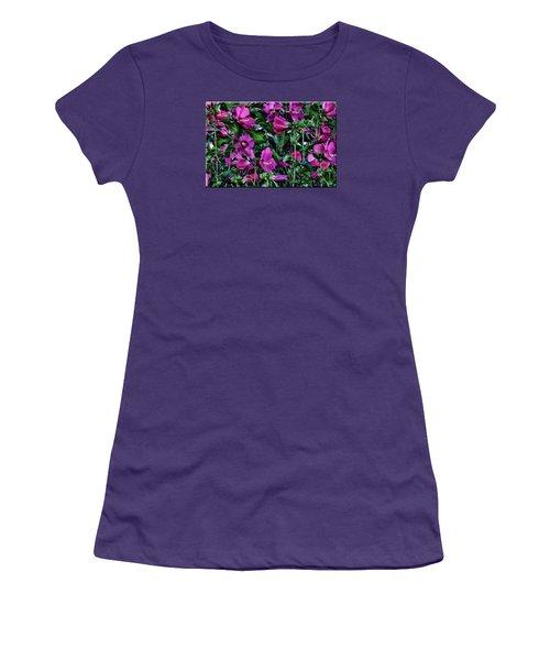 Purple Flowers Women's T-Shirt (Junior Cut) by Mikki Cucuzzo