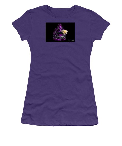 Purple Glass Buddah With Yellow Lotus Flower Women's T-Shirt (Athletic Fit)