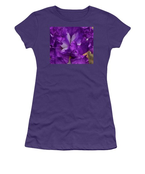 Women's T-Shirt (Athletic Fit) featuring the photograph Purple Iris Close Up by Jean Noren
