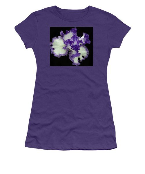 Women's T-Shirt (Athletic Fit) featuring the photograph Purple Iris Frills by Jean Noren