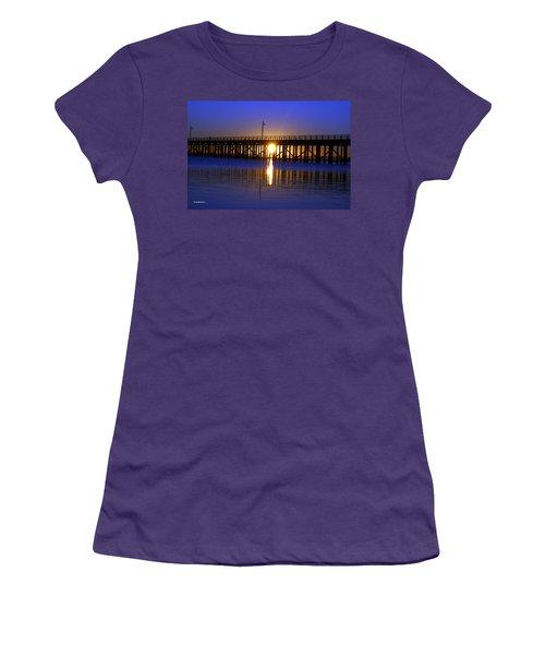 Women's T-Shirt (Junior Cut) featuring the photograph Purple Ocean Sunrise by Gary Crockett