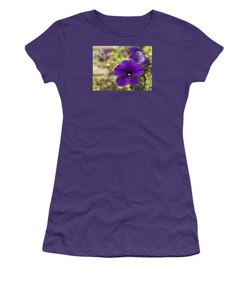 Purple Petunias Women's T-Shirt (Athletic Fit)