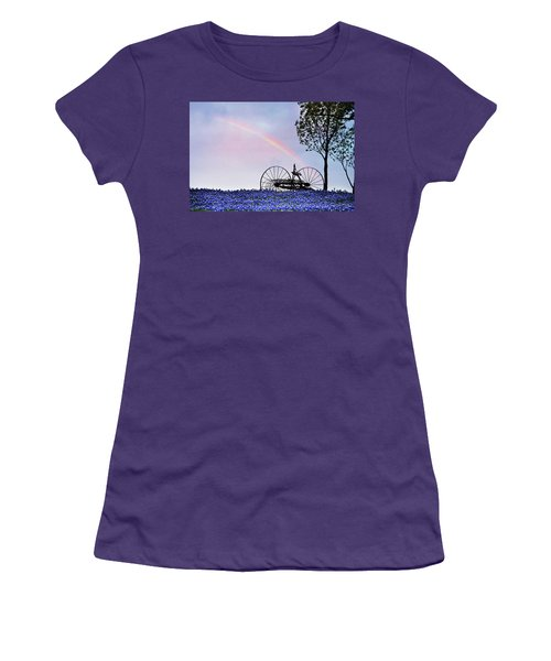 Rainbow Over Texas Bluebonnets Women's T-Shirt (Junior Cut) by David and Carol Kelly