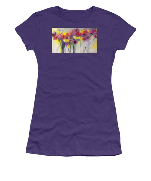 Red And Yellow Floral Field Painting Women's T-Shirt (Athletic Fit)