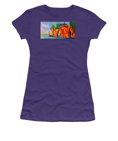 Red Fjord Women's T-Shirt (Junior Cut) by Elizabeth Fontaine-Barr