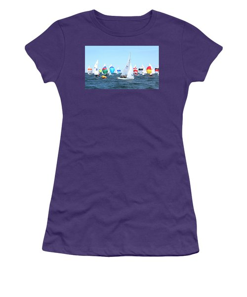 Women's T-Shirt (Athletic Fit) featuring the photograph Rhodes Nationals Sailing Race Dennis Cape Cod by Charles Harden