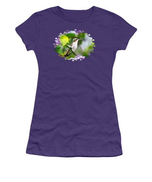 Ruby-throated Hummingbird-1 Women's T-Shirt (Junior Cut) by Christina Rollo