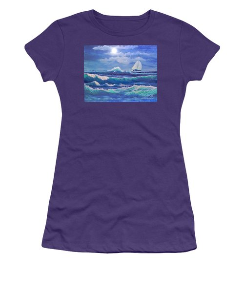 Women's T-Shirt (Junior Cut) featuring the painting Sailing The Caribbean by Holly Martinson