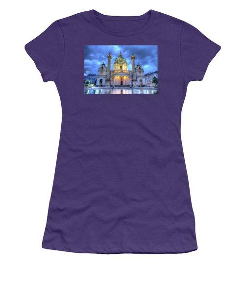 Saint Charles's Church At Karlsplatz In Vienna, Austria, Hdr Women's T-Shirt (Athletic Fit)