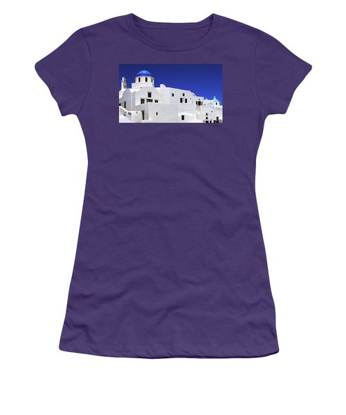 Santorini Greece Architectual Line 6 Women's T-Shirt (Junior Cut) by Bob Christopher