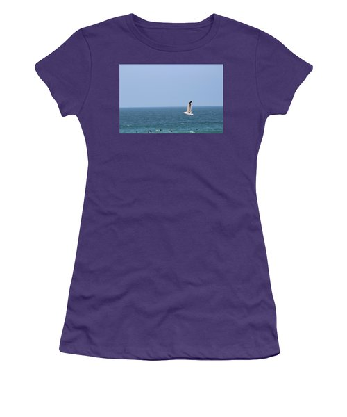 Seagull Flying Over Huntington Beach Women's T-Shirt (Athletic Fit)