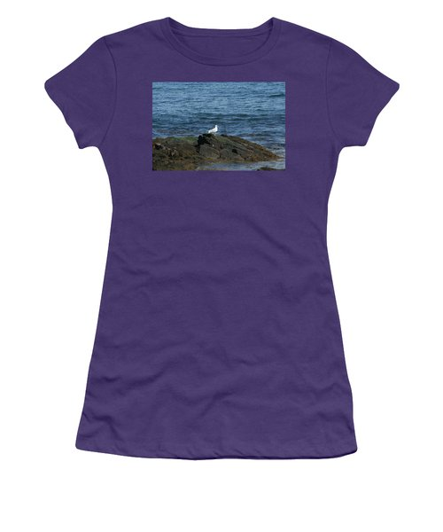 Women's T-Shirt (Junior Cut) featuring the digital art Seagull On The Rocks by Barbara S Nickerson