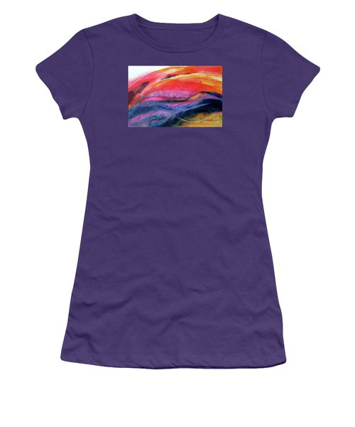 Women's T-Shirt (Junior Cut) featuring the painting Seams Of Color by Kathy Braud