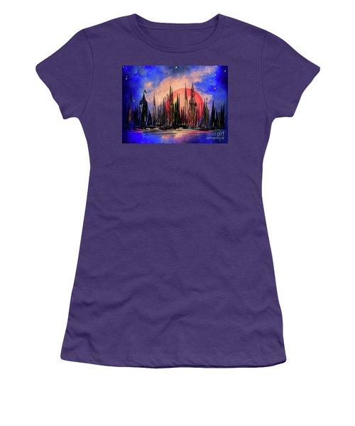 Women's T-Shirt (Junior Cut) featuring the drawing Seaport by Andrzej Szczerski