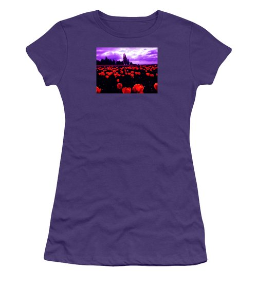 Women's T-Shirt (Junior Cut) featuring the photograph Skagit Valley Tulips by Eddie Eastwood