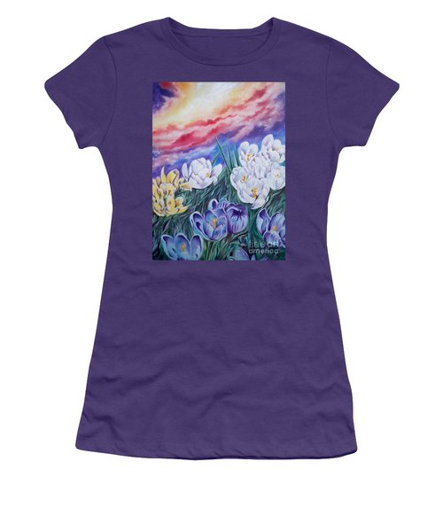 Women's T-Shirt (Junior Cut) featuring the painting Snow Crocus by Sigrid Tune