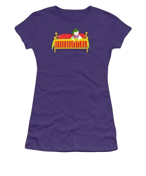 Snowman Bedtime Women's T-Shirt (Junior Cut) by Barbara Moignard