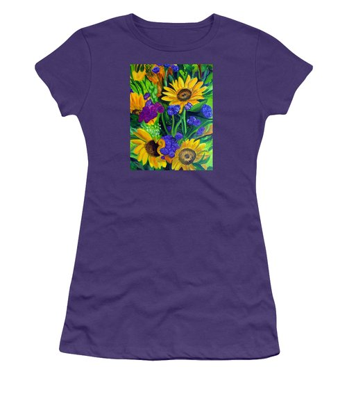 Sunflowers -soaking Up Sunshine Women's T-Shirt (Junior Cut) by Julie Brugh Riffey