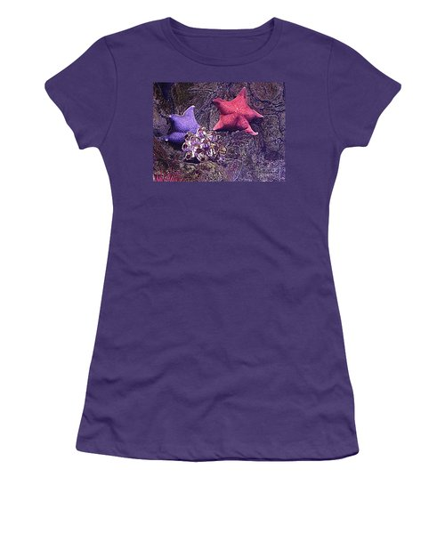 Starfish Pink Starfish Blue Women's T-Shirt (Athletic Fit)