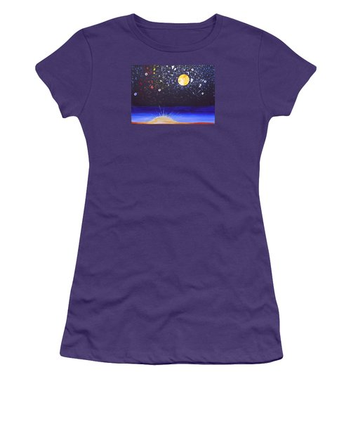 Women's T-Shirt (Junior Cut) featuring the painting Sun Moon And Stars by Donna Blossom