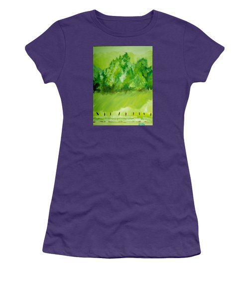 Women's T-Shirt (Junior Cut) featuring the painting Sunday At Two Thirty by Seth Weaver