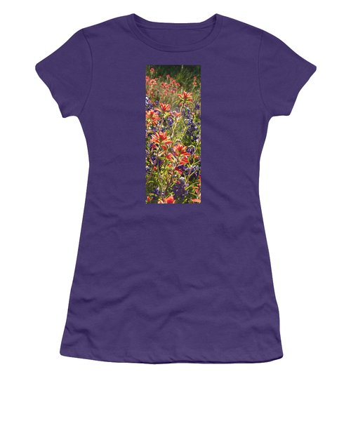 Women's T-Shirt (Junior Cut) featuring the painting Sunlit Wild Flowers by Karen Kennedy Chatham