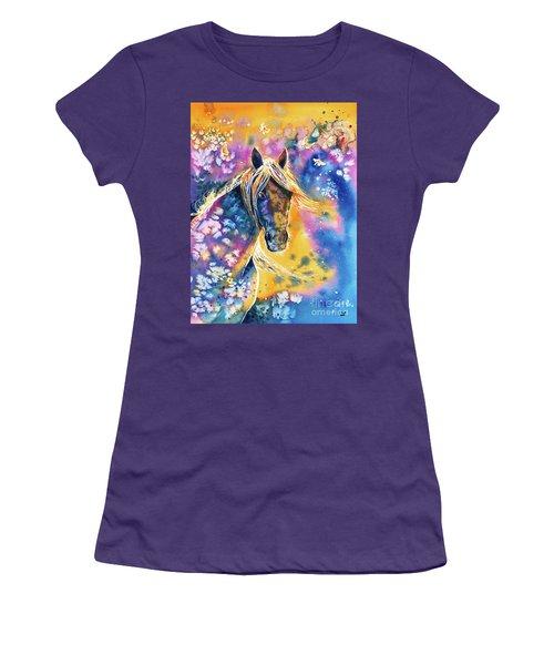 Women's T-Shirt (Athletic Fit) featuring the painting Sunset Mustang by Zaira Dzhaubaeva