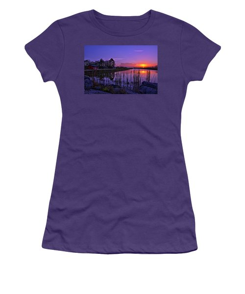 Sunset Over Hungryland Wildlife Management Area Women's T-Shirt (Junior Cut) by Justin Kelefas