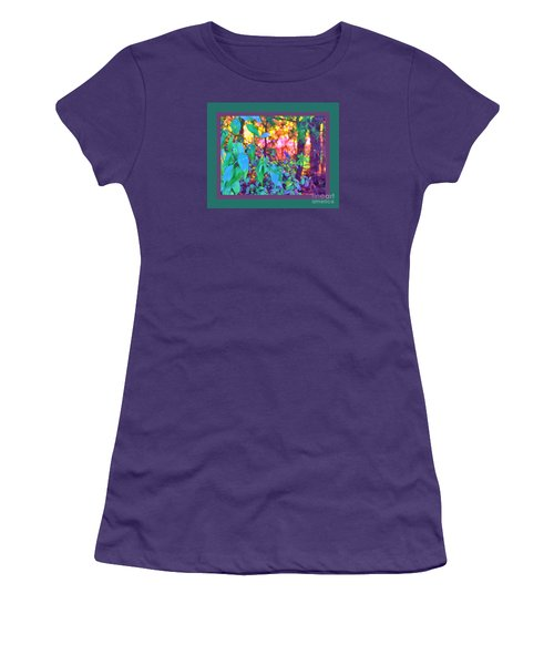 Women's T-Shirt (Junior Cut) featuring the photograph Sunset Thru The Trees Green Border by Shirley Moravec
