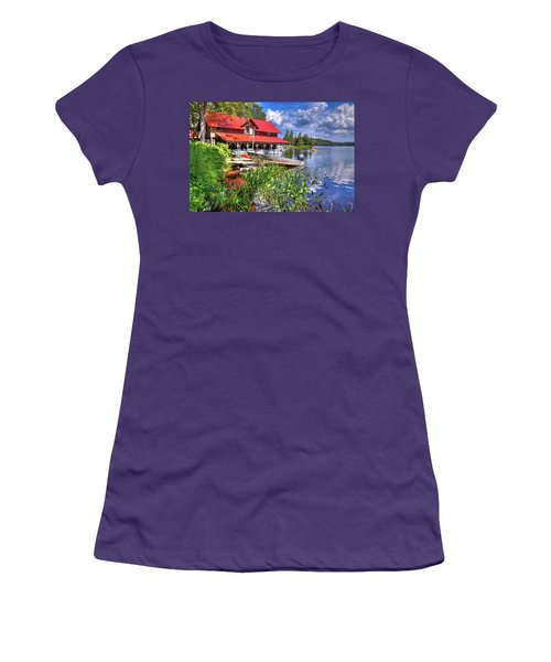 Women's T-Shirt (Athletic Fit) featuring the photograph The Boathouse At Covewood by David Patterson