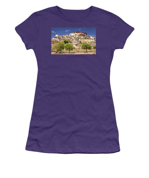 Women's T-Shirt (Junior Cut) featuring the photograph Thikse Monastery by Alexey Stiop