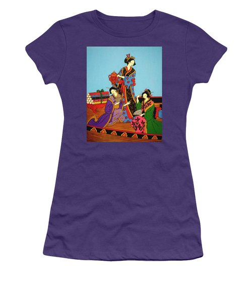 Women's T-Shirt (Junior Cut) featuring the painting Three Geishas by Stephanie Moore