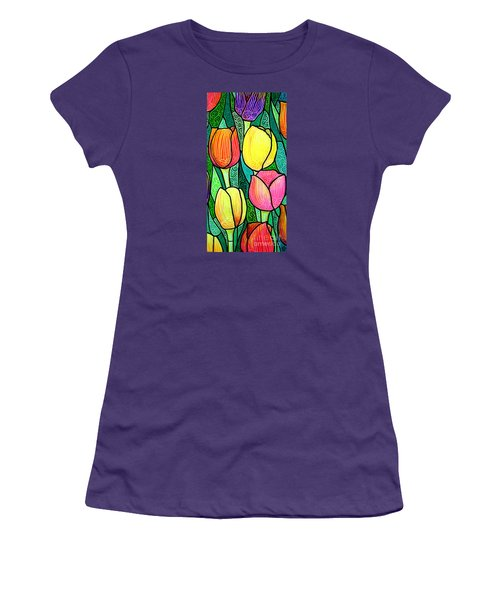 Women's T-Shirt (Junior Cut) featuring the painting Tulip Expo by Jim Harris