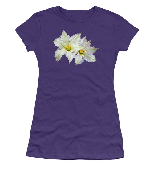 Two Clematis Flowers On Purple Women's T-Shirt (Junior Cut) by Jane McIlroy