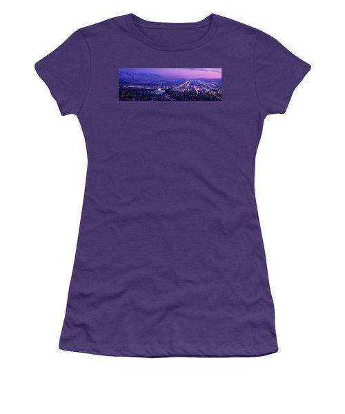 Usa, Utah, Salt Lake City, Aerial, Night Women's T-Shirt (Junior Cut)