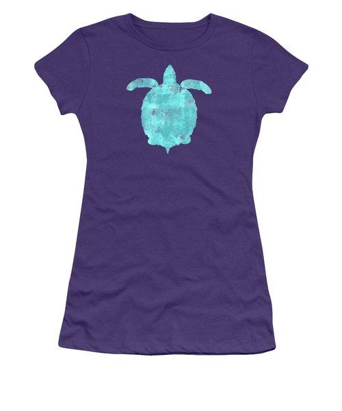 Vibrant Blue Sea Turtle Beach House Coastal Art Women's T-Shirt (Athletic Fit)