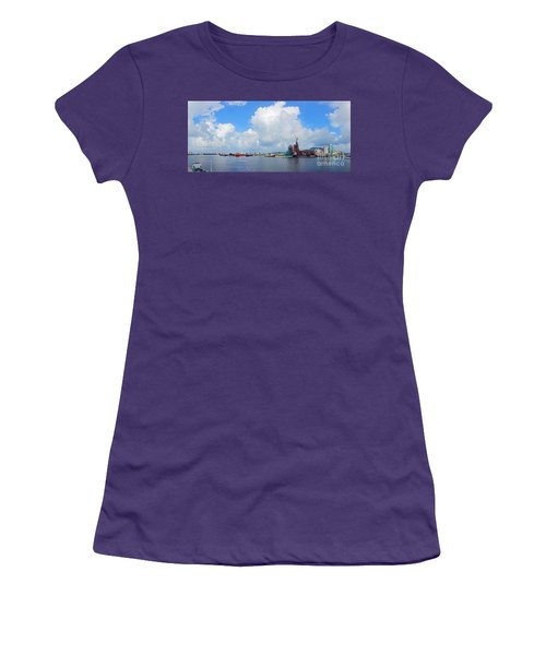 Women's T-Shirt (Athletic Fit) featuring the photograph View Of Kaohsiung Port And Bay by Yali Shi