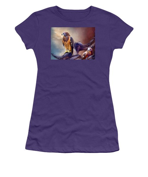 Women's T-Shirt (Athletic Fit) featuring the mixed media Vision Of The Hawk 2 by Carol Cavalaris