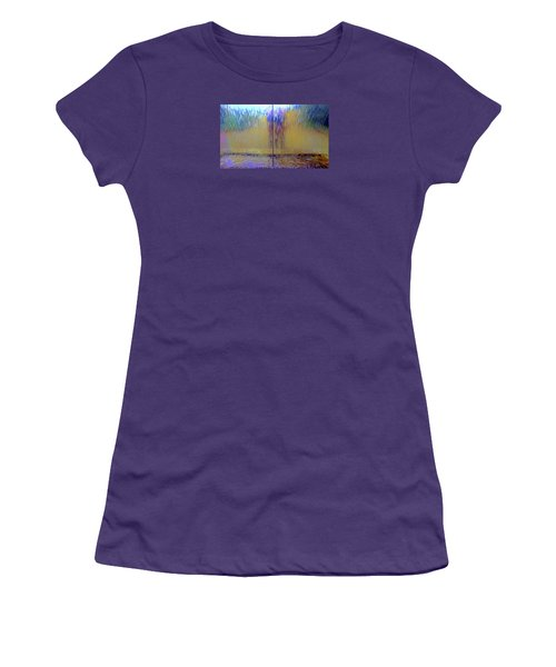 Women's T-Shirt (Athletic Fit) featuring the photograph Watery Rainbow Abstract by Nareeta Martin