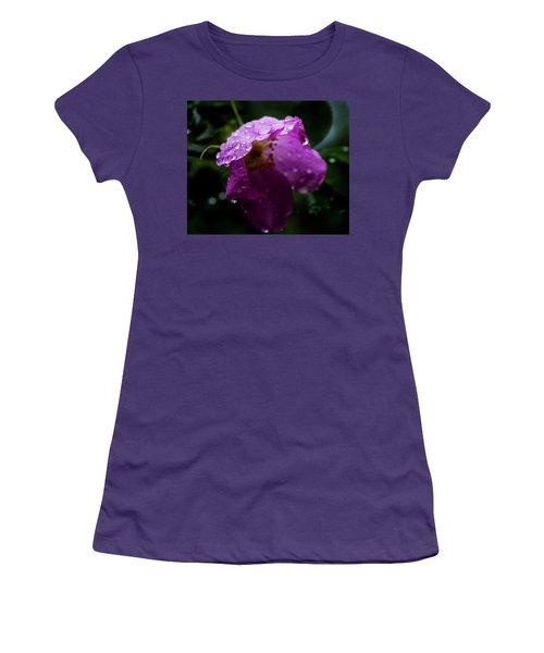 Women's T-Shirt (Junior Cut) featuring the photograph Wet Wild Rose by Darcy Michaelchuk